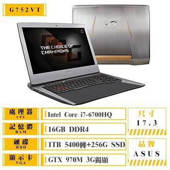 ASUS G752VT-0031A6700HQ 17.3吋FHD i7-6700HQ GTX970 3G獨顯 頂級至尊電競筆電 加送電競滑鼠+清潔好禮組