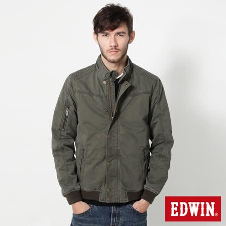 EDWIN 肩繡騎士鋪棉外套-男-苔綠色
