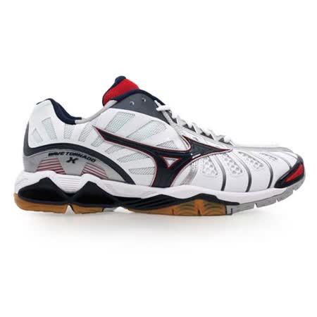 (男) MIZUNO WAVE TORNADO X 排球鞋- 羽球鞋 羽毛球 白丈青紅