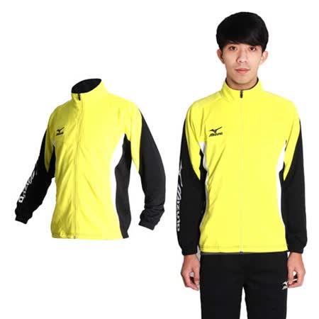 (男) MIZUNO 針織運動外套- 美津濃 立領 黃黑