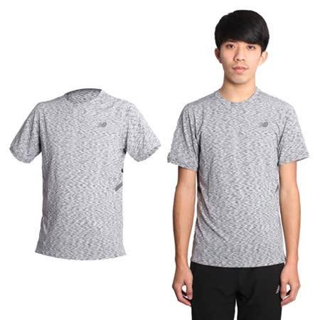 (男) NEWBALANCE 短袖T恤-慢跑 路跑 NB 圓領 條紋黑灰
