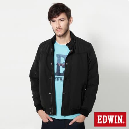 EDWIN 肩繡騎士鋪棉外套-男-黑色