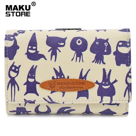【MAKU STORE】可愛少女零錢夾扣短款皮夾-米杏底藍黑小魔鬼