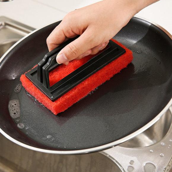 ~PS Mall~海綿底清潔刷 廚房水槽浴室清潔刷_2入 ^(J403^)