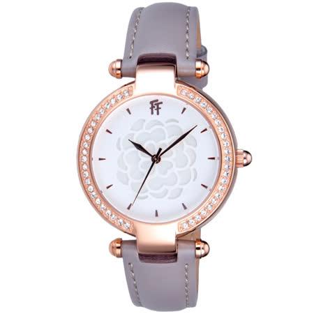 Folli Follie  醇甜愛戀晶鑽皮帶腕錶-皮帶灰