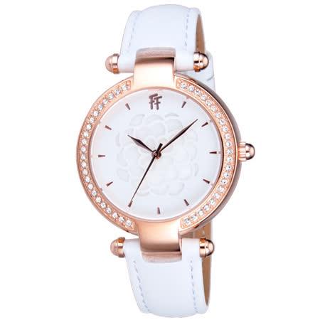 Folli Follie  醇甜愛戀晶鑽皮帶腕錶-皮帶白