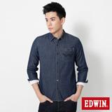 EDWIN 後肩LOGO繡字牛仔襯衫-男-原藍色