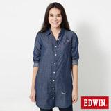 EDWIN 長版休閒襯衫-女-原藍色