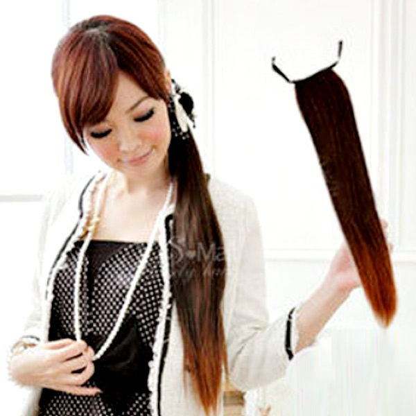 【PS Mall】輕鬆簡易上手 綁式緞帶立體直馬尾假髮 (P027)