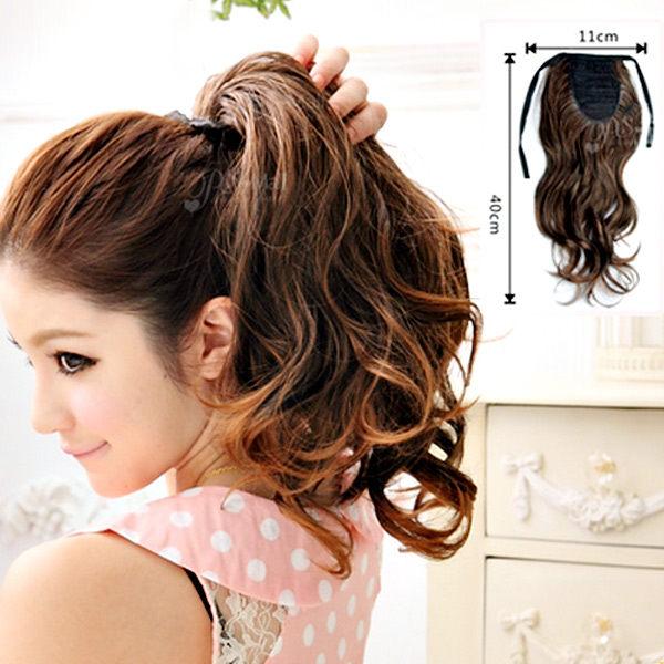 【PS Mall】輕鬆簡易上手 綁式綁帶緞帶甜心捲馬尾假髮 (P028)