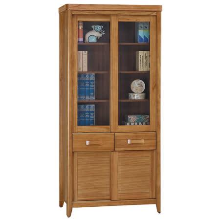 【顛覆設計】絲莉愛3尺柚木實木推門中抽書櫃