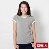 EDWIN 素面LOGO短袖T恤-女-麻灰色
