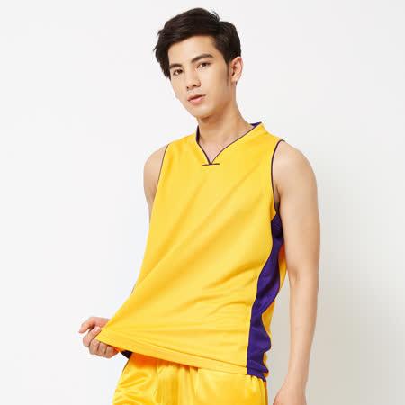 FIVE UP(男)-吸排V領籃球背心-黃