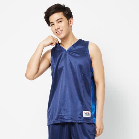 FIVE UP(男)-吸排V領籃球背心-深藍