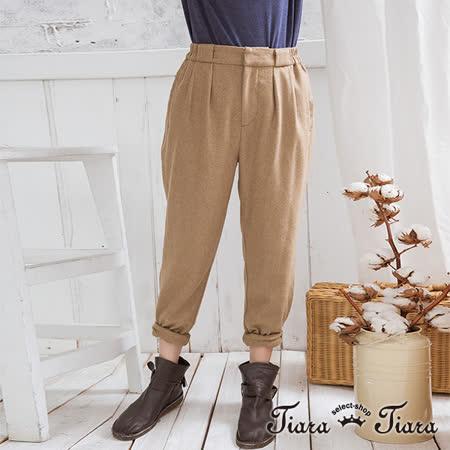 【Tiara Tiara】打摺羊毛舒適休閒長褲(鐵灰/卡其)