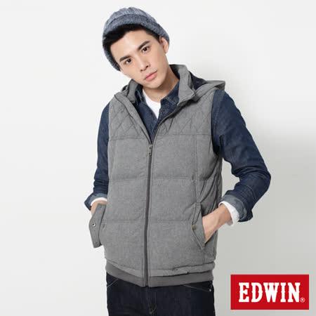 EDWIN 網路限定 菱格紋羽絨背心-男-暗灰色