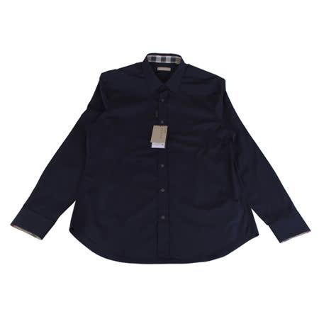 BURBERRY 經典騎士系列長袖襯衫(男/深藍底深藍騎士)