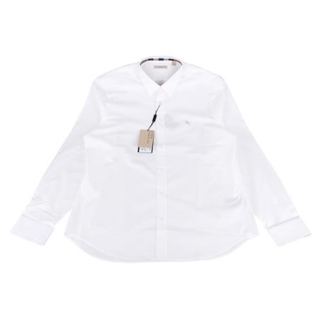 BURBERRY 經典騎士系列長袖襯衫(男/白底米騎士)