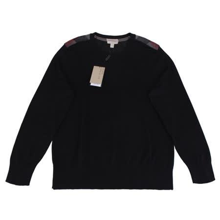 BURBERRY 肩上格紋針織長袖毛衣(男/黑)