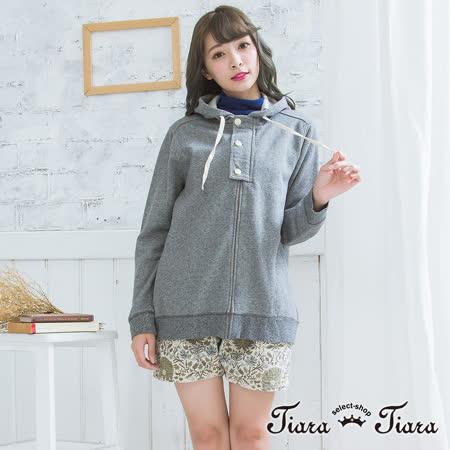 【Tiara Tiara】 仿牛仔布連帽長袖外套(藍/灰/芥黃)