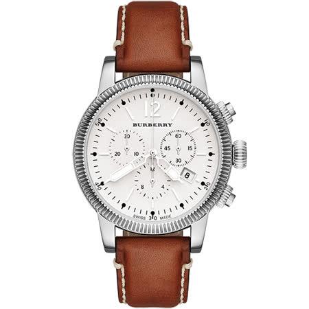 BURBERRY Utilitarian 飛行計時腕錶-銀白/42mm BU7817