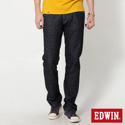EDWIN 大尺碼 EDGE雙層假袋蓋直筒牛仔褲-男-原藍色