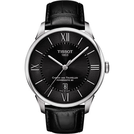 TISSOT 杜魯爾系列機械動力80腕錶-黑/42mm T0994071605800