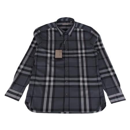BURBERRY 經典格紋系列長袖襯衫(男/黑底格紋)