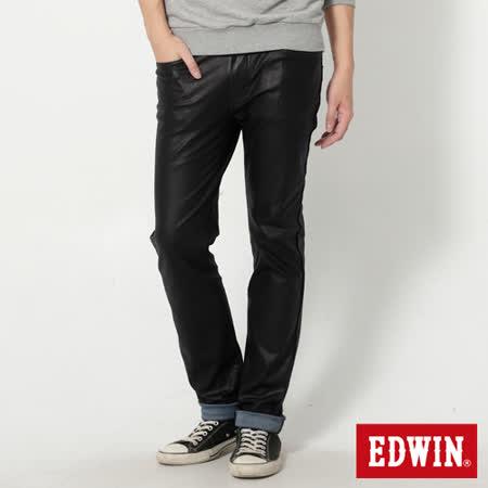 EDWIN 迦績褲 塗層修身窄直筒牛仔褲-男-黑色