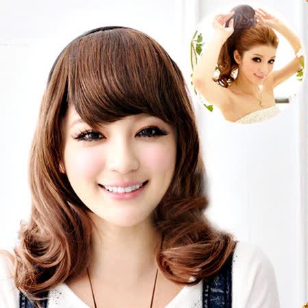 【PS Mall】DIY半頂式髮箍可愛韓妞捲捲中長捲髮 (P041)