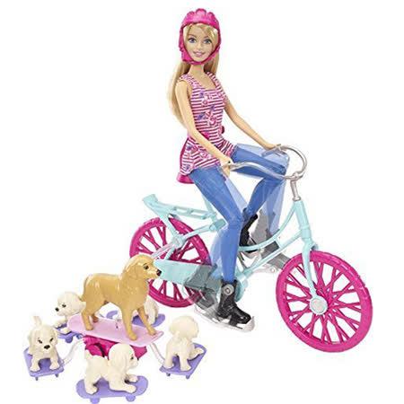 《MATTEL》單車芭比與狗狗兜風組