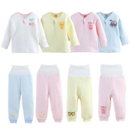 日本保暖純棉提花空氣棉內搭上衣+高腰護肚褲【2件組】-女寶寶
