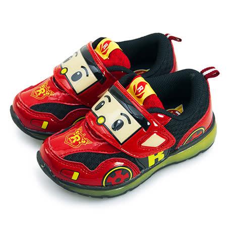 【中童】POLI 波力超光束電燈運動跑步鞋 台灣製造 紅黑米 51302