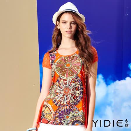 【YIDIE 衣蝶】 圓領蕾絲包袖鑽飾印花傘擺上衣