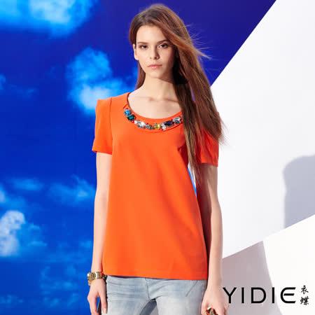 【YIDIE 衣蝶】 寶石裝飾方型袖圓領上衣