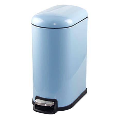 PUSH! 居家生活用品 colourful液壓厚實鋼材可固定垃圾袋垃圾桶 置物桶 10升(L) I15-淺藍色