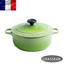 法國【CHASSEUR】獵人黑琺瑯鑄鐵彩鍋24cm(青檸綠) 加贈橄欖木圓攪拌匙