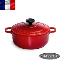 法國【CHASSEUR】獵人黑琺瑯鑄鐵彩鍋18cm(櫻桃紅)