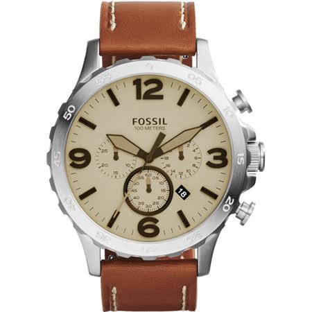 【網購】gohappy 線上快樂購FOSSIL Nate 世紀戰神三眼計時腕錶-灰x棕/50mm JR1503評價好嗎台中 市 愛 買