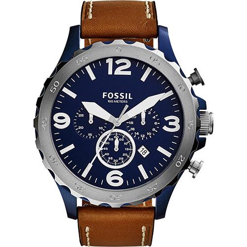 FOSSIL Nate 世紀戰神三眼計時腕錶-藍x棕/47mm JR1504