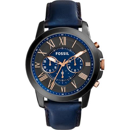 FOSSIL Grant 旗艦三眼計時復刻腕錶-黑x藍/44mm FS5061