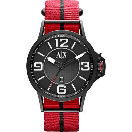 A│X Armani Exchange 獨立潮流休閒時尚腕錶-黑x紅/44mm AX1582