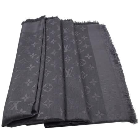Louis Vuitton LV M74752 Monogram 經典花紋羊毛絲綢披肩圍巾.煤炭色_現貨
