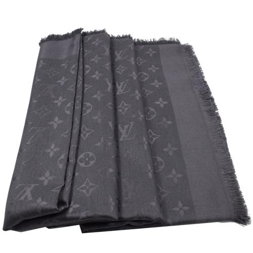 Louis Vuitton LV M74752 Monogram 花紋羊毛絲綢披肩圍巾.煤