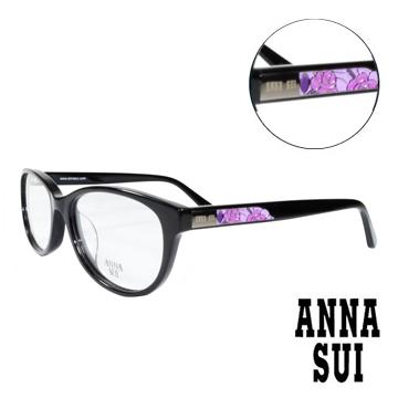 ANNA SUI 綻放薔薇浮雕 眼鏡^(黑色^)AS618~001