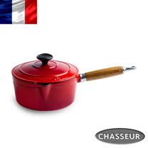 法國【CHASSEUR】獵人琺瑯鑄鐵原木柄醬料鍋(含蓋)20cm(櫻桃紅)