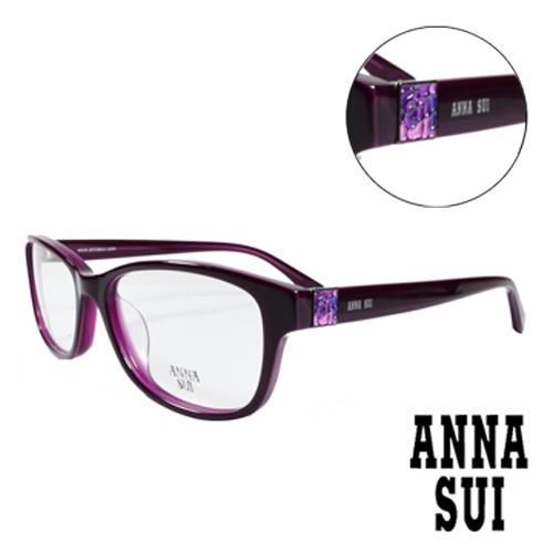 ANNA SUI 浪漫紫薔薇方型圖騰 眼鏡^(紫色^)AS619~707