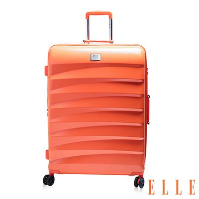 ELLE 法式時尚流線橫條紋 純PC100% 霧面防刮20吋行李箱-珊瑚橘EL3116720-11