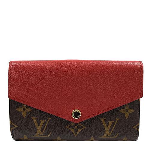 Louis Vuitton LV M60140 Pallas 花紋皮革拼接中夾.紅_