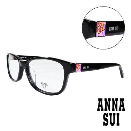 ANNA SUI 彩色耀眼薔薇方型圖騰 眼鏡^(黑色^)AS619~001